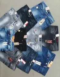 Button Blue Mens Casual Wear Knitted Denim Jeans