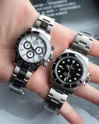 Silver Stainless Steel Rolex Couple Watch