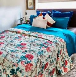 Screen Printed Indian Home Decor Kantha Bed Cover