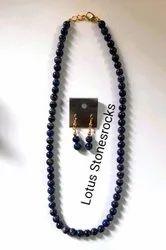 Lapis Stone Necklace Earrings Set