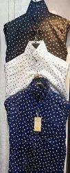 Denim White Mens Fancy Cotton Printed Shirts