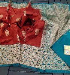 Nandys 13 Weaved Banarasi Silk Katan Saree, 6.3 m (with blouse piece)