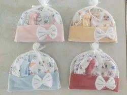 Little Cubs Baby Bow Design Cotton Cap-Booty-Mitten Set