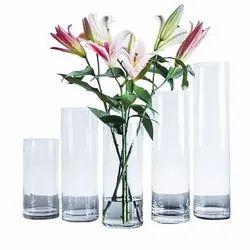 Decoration Polished Transparent Glass Flower Vase