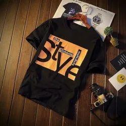 Half Mens Black Printed T Shirts, Size: Medium