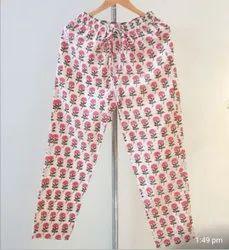 Cotton Block Printed Women Pajamas, Large