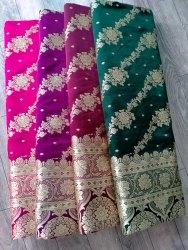 Wedding Wear Plain Banarasi Katan Silk Saree, 6.3 m (with blouse piece)