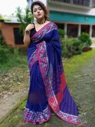 Casual Wear Cotton Weaving Work Sarees, With Blouse, 6.3 m