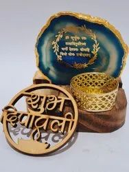 Agate gayatri mantra, plate  with, stand