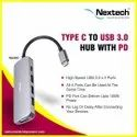NA33C Type C To USB 3.0 4 Port Hub With PD Charging