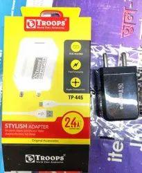 Tptroops TP 2.4Amp 1USB Stylish Adapter 1 Year Warranty 445 FG (Box-100)