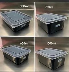 Black food packing tray