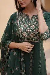 Bottle Green Cotton Designer Indian Wear