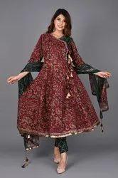 The Gavya Pure Cotton Ladies Fancy Anarkali Suits