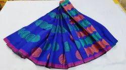 Zari Weave design Fancy Cotton Mix Saree, Handwash, 6 m (with blouse piece)