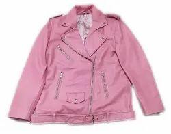 Pink Plain Full Sleeve Ladies Leather Jacket