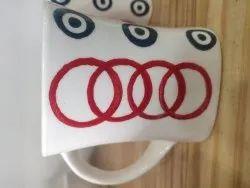 Round Ceramic Printed White Mug, For Home