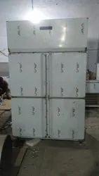 Silver SS Four Door Vertical Refrigerator