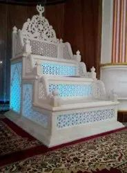 White Carved Marble Masjid Member, Size: L38inchxW32inchxH56inch