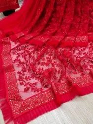 Traditional Multicolor Designer Net Embroidery Work Saree, 6.3 m (with blouse piece)