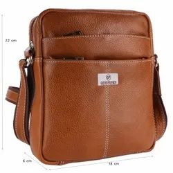 Brown Unisex Leather siling bag