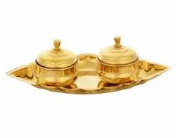 Golden Traditional Pital kankavati, 100 Gr, Size: 18 CM