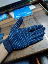 White Cotton Knitted Dotted Gloves