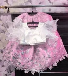 Festive Wear Embroidered Kids baby Pink lehenga with brocade work heavy net n frill blouse