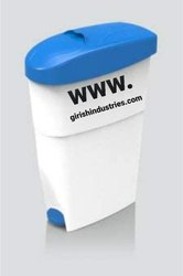 ABS Lady Sanitary Bin Paddle ( Imported ,18Ltr ,White - Grey / Blue)