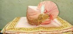 Peach Tapeta Silk Pagri With Shawl