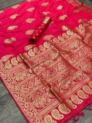 Festive Wear Red Pure Silk Zari Saree, 6.3 m (with blouse piece)