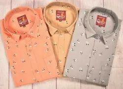 Collar Neck Casual Wear Mens Fancy Cotton Shirt