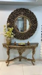 Carved design Wood teak Decogoldfinish Antique Concealed Table With Mirror