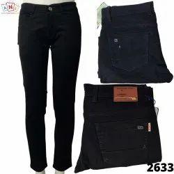 Denim Plain Men Jeans Black