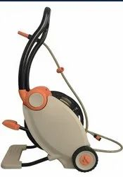 Automatic rewind garden hose reel with cart
