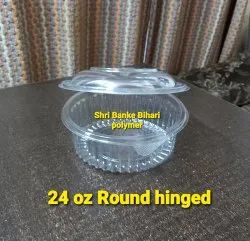 pet round hinged container