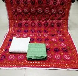 Cotton A-Line Chanderi Dupatta With Ready To Wear Top Bottom Suits, Dry Clean