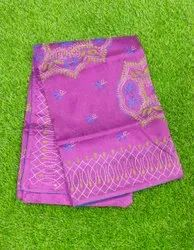 Party Wear Embroidered Bengal Cotton Silk Saree, With blouse piece