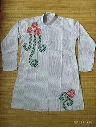 Khadimuslin Fabric Multicolor Punjabi Full Shirt, Size: 36
