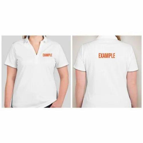Cotton Half Sleeve Women Polo Neck T Shirts, Size: S-XL