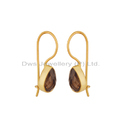Smoky Quartz Gemstone Gold Plated Silver Earrings Supplier