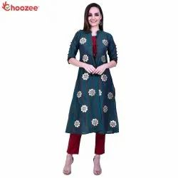 Young Ma'am Women Kurta Pant with Long Jacket (with Gota Patti Work)