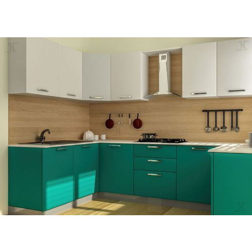 Designer Modular Kitchen At Rs 360 Square Feet: White And Green Modular Kitchen, Rs 450 /square Feet