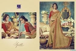Beige And Red Bamberg Georgette Designer  Saree
