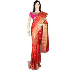 Orange Party Wear Designer Brocade Ladies Silk Saree