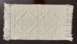 Cotton CREAM JACQUARD RUG, Size: 50x80 Cm