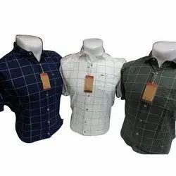 Cotton Collar Neck Mens Check Shirt, Machine wash