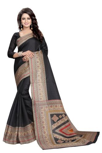 Kalamkari Prints Khadi Silk Kalamkari Silk Saree, Machine Made, 6 m (with blouse piece)