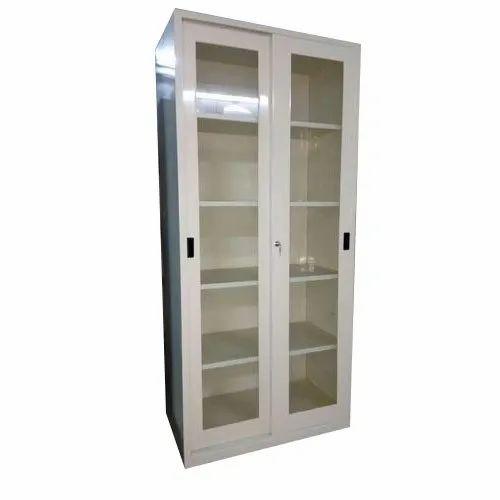 Mild Steel Sliding Glass Door Cabinet, For Office