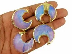 Opalite Gemstone Half Moon Shape Gold Plated Pendants